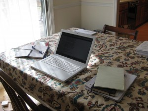 Where I write, before stuff crawled began to surround me... !