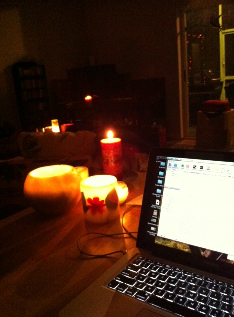 Candlelight writing time at the Oasis